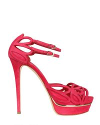 Le Silla | Red 140mm Suede Cut Out Sandals | Lyst