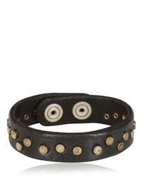 Orciani   Black Washed Studded Leather Bracelet for Men   Lyst