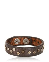 Orciani | Brown Washed Studded Leather Bracelet for Men | Lyst
