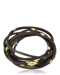 Tomasz Donocik | Black Gold Stars Leather Wrap Bracelet | Lyst