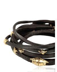 Tomasz Donocik - Black Gold Stars Leather Wrap Bracelet - Lyst