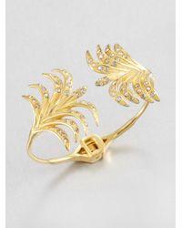 Ca&Lou | Metallic Palm Open Bangle Bracelet | Lyst