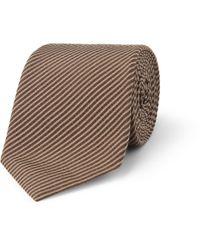 Gucci | Brown Silk and Cotton Blend Seersucker Tie for Men | Lyst