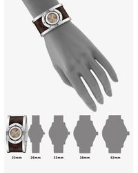 Gucci - Brown Stainless Steel & Leather Cuff Watch - Lyst
