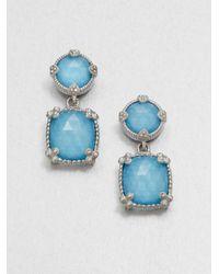 Judith Ripka - Blue Turquoise Doublet Sterling Silver Drop Earrings - Lyst