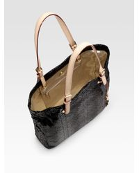 MICHAEL Michael Kors | Black Python Embossed Leather Tote | Lyst