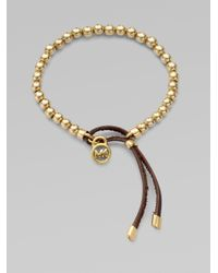 Michael Kors - Metallic Leather Accented Beaded Bracelet - Lyst