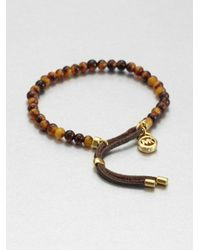 Michael Kors - Brown Tortoiseprint Beaded Bracelet - Lyst