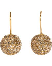 Shamballa Jewels | Metallic Brown Pave Diamond Gold Ball Drop Earrings | Lyst