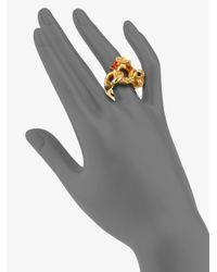 Saint Laurent - Metallic Arty Enamel Accented Goldtone Ring - Lyst