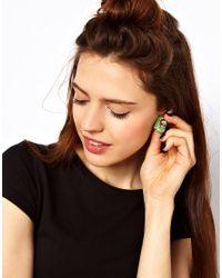 ASOS Collection - Green Skull Stud Earrings - Lyst