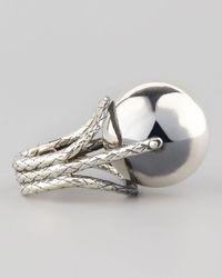 Bottega Veneta | Metallic Rolling Silver Sphere Ring for Men | Lyst