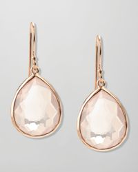 Ippolita | Pink Singledrop Rose Gold Earrings Clear Quartz | Lyst