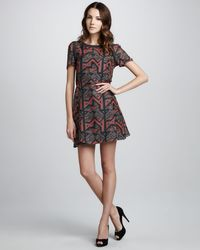 Marc By Marc Jacobs   Red Geo Maze Printed A-Line Dress   Lyst