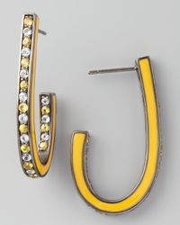 M.c.l  Matthew Campbell Laurenza | Mixed Pave Sapphire J Hoop Earrings Yellow | Lyst