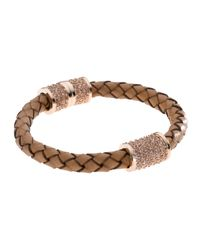 Michael Kors | Metallic Braided Leather Crystallized Bracelet | Lyst