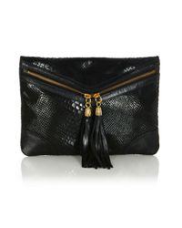 Oasis | Black Leather Envelope Clutch | Lyst
