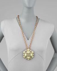 Oscar de la Renta - Green Cabochon Broochpendant Necklace - Lyst