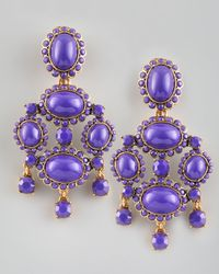 Oscar de la Renta | Purple Cabochon Drop Clip Earrings | Lyst