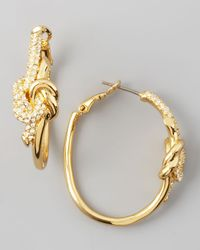 Rachel Zoe | Metallic Pave Love Knot Hoop Earrings | Lyst