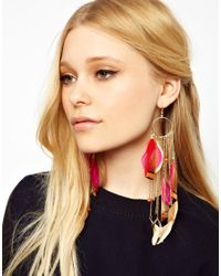 River Island - Multicolor Feather and Chain Dangle Earrings - Lyst