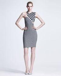 Stella McCartney | Blue Ontoured Mesh-inset Gingham Sheath Dress | Lyst