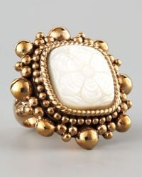 Stephen Dweck | Metallic Floral Carved Mother Of Pearl Ring | Lyst
