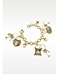 Alcozer & J | Metallic Brass Charm Bracelet with Lock and Key Charms | Lyst