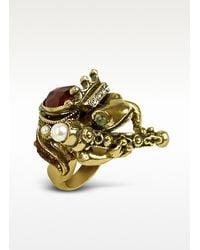 Alcozer & J - Metallic Gemstone Frog Prince Ring - Lyst