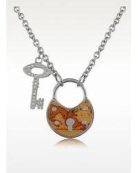 Alviero Martini 1A Classe | Metallic 1a Prima Classe Geo Lock Crystal Key Pendant Necklace | Lyst