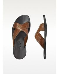 A.Testoni - Mens Brown Croco Capri Crisscross Sandal Shoes - Lyst