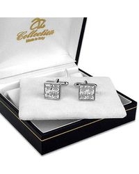 AZ Collection - Metallic Silver Plated Jeweled Cufflinks for Men - Lyst
