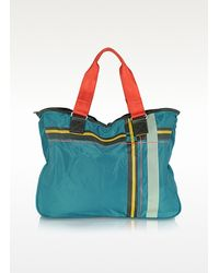 womens blue checks line nylon tote bag - Color Bag Bensimon