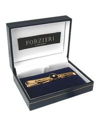 FORZIERI - Golden Plated Tie Clip With Black Oval for Men - Lyst