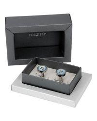 FORZIERI - Blue Button Motherofpearl Silver Plated Cufflinks for Men - Lyst