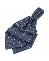 FORZIERI | Blue & Yellow Polkadot Pattern Pure Silk Ascot for Men | Lyst