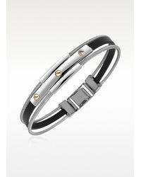 FORZIERI - Gray Men's Stainless Steel And Rubber Screws Bracelet for Men - Lyst