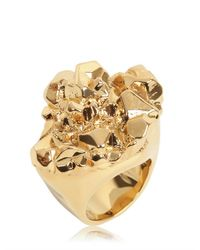 MICHAEL Michael Kors | Metallic Gold Plated Rock Ring | Lyst