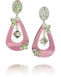 Miu Miu - Pink Swarovski Crystal and Plexiglass Clip Earrings - Lyst