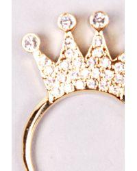 AKIRA - Metallic Rhinestone Crown Ring - Lyst