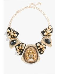 Bebe - Black Textured Stud Chain Statement Necklace - Lyst