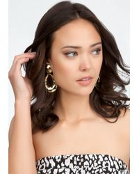 Bebe - Metallic Hammered Teardrop Earrings - Lyst