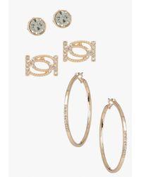 Bebe - Metallic Interlocked Logo Earring Set Web Exclusive - Lyst