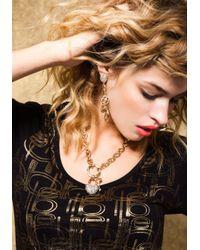 Bebe - Metallic Rhinestone Heart Padlock Necklace Web Exclusive - Lyst