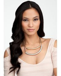 Bebe - Metallic Mixed Matte Metal Tube Necklace - Lyst