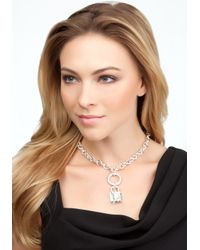 Bebe - Metallic Interlocked Padlock Key Charm Necklace  - Lyst