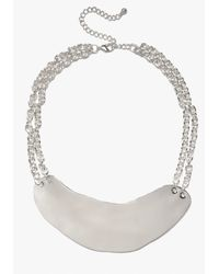 Bebe | Metallic Short Hammered Metal Necklace | Lyst