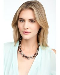 Bebe - Metallic Chainlink Tortoise Toggle Necklace - Lyst