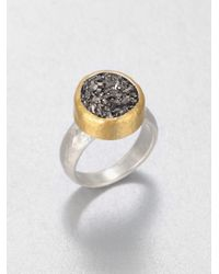 Gurhan - Metallic Galaxy Black Druzy, 24K Yellow Gold & Sterling Silver Ring - Lyst