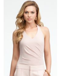 Bebe | Pink Silk Halter Bodysuit | Lyst